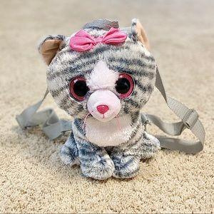 TY Silk Beanie Boo Backpack: Kiki Gray Kitty Cat